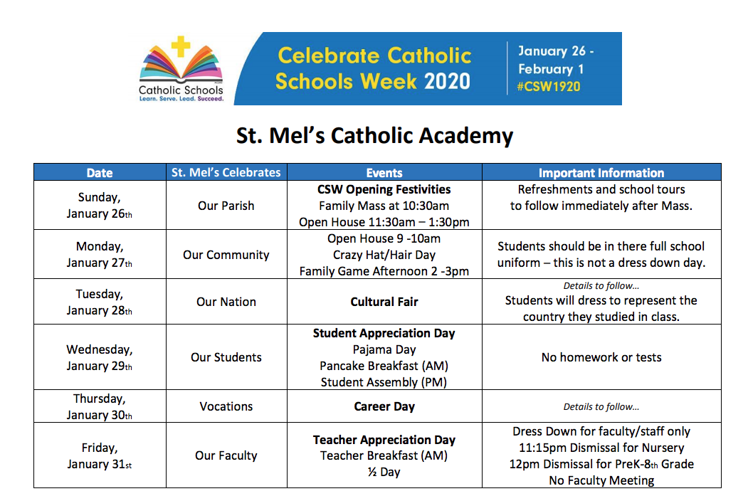 Catholic Schools Week 2020 calendar