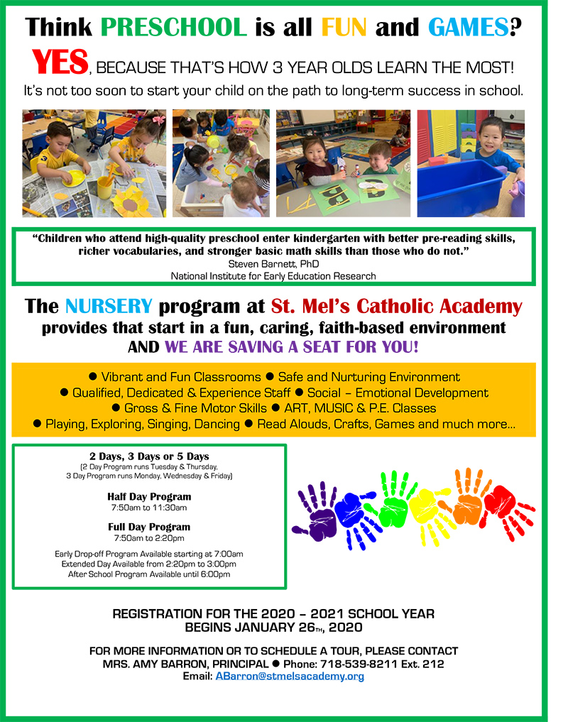 St Mel Catholic Academy Nursery information flyer