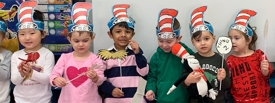 st mel's early childhood students in dr seuss hats