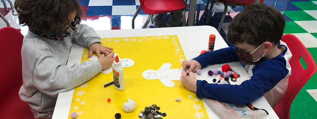 students working on art project
