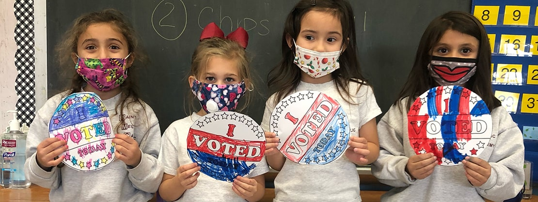 """students with """"I Voted"""" signs"""