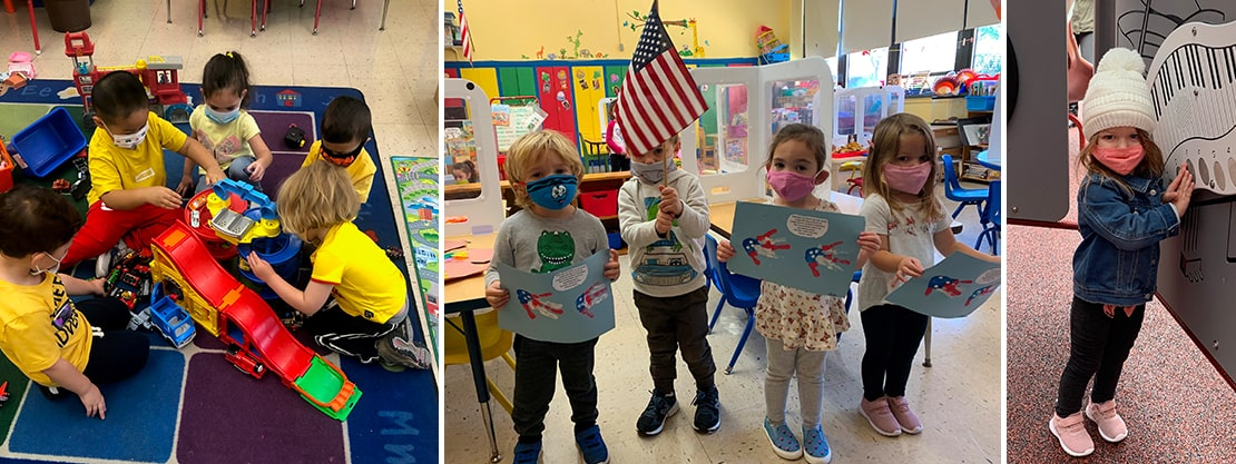 students playing and holding artwork