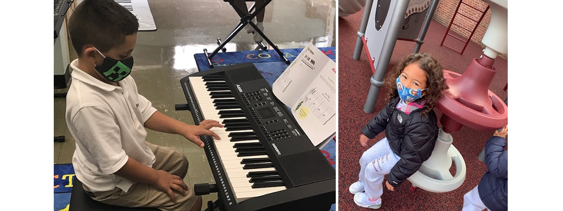 student playing keyboards and student playing